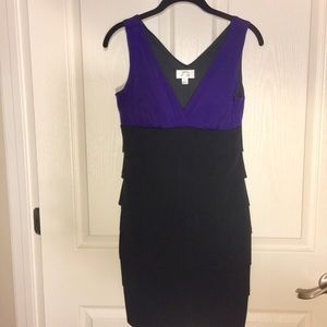 Sweet Storm- Black and Purple stretchy dress-Large